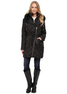 Via Spiga Hooded Chevron Belted Down Coat w/ Faux Fur
