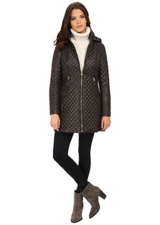 Via Spiga Hooded Diamond Quilt Coat