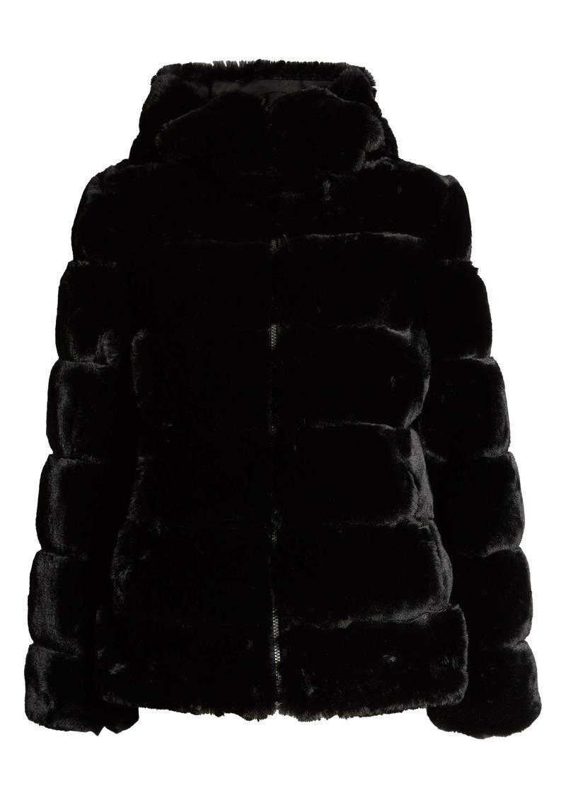 Via Spiga Hooded Faux Fur Coat