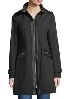 Via Spiga Hooded Zip-Front Coat