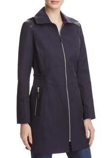 Via Spiga Infinity Faux Leather-Trimmed Raincoat