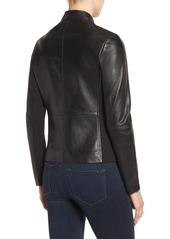 Via Spiga Lambskin Leather Scuba Jacket (Regular & Petite)
