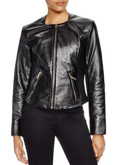 Via Spiga Leather Ribbed-Detail Jacket