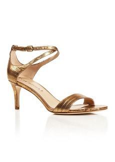 Via Spiga Leesa Lizard Embossed Metallic Leather Ankle Strap Mid Heel Sandals