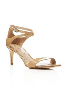 Via Spiga Leesa Patent Leather Ankle Strap Mid Heel Sandals