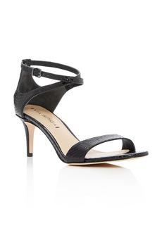 Via Spiga Leesa Snakeskin Ankle Strap Mid Heel Sandals