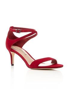 Via Spiga Leesa Suede Ankle Strap Mid Heel Sandals