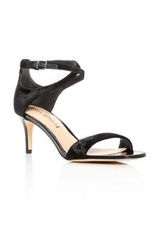 Via Spiga Leesa Velvet Ankle Strap Mid Heel Sandals