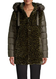 Via Spiga Leopard-Print Faux Fur Jacket