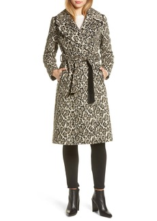 Via Spiga Leopard Print Wrap Coat