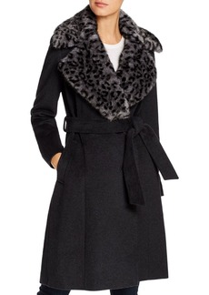 Via Spiga Leopard-Printed Faux Fur Collar Wool-Blend Coat