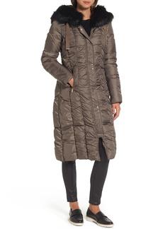 Via Spiga Long Faux Fur Trim Coat