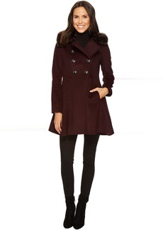 Via Spiga Military Inspired Wool A-Line w/ Faux Fur