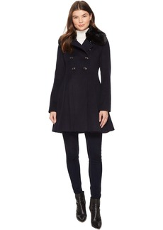 Via Spiga Military Inspired Wool A-Line w/ Faux Fur