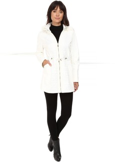 Via Spiga Mixed Media Anorack with Removable Faux Fur Trimmed Hood