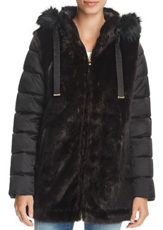 Via Spiga Mixed Media Faux Fur & Puffer Coat