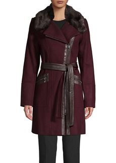 Via Spiga Mixed Media Faux Fur Wrap Front Jacket