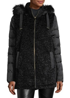 Via Spiga Mixed-Media Hooded Puffer Jacket