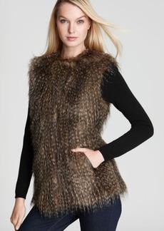Via Spiga Parma Collarless Faux Fur Vest