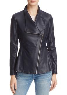 Via Spiga Peplum-Back Leather Moto Jacket