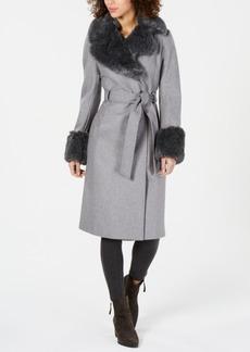 Via Spiga Faux-Fur-Trim Belted Wrap Coat
