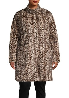 Via Spiga Plus Leopard-Print Faux Fur Reversible Coat