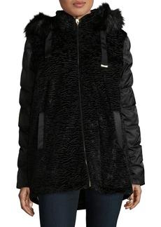 Via Spiga Plus Mixed Media Faux Fur Coat
