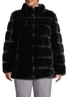 Via Spiga Plus Reversible Faux Fur Coat