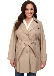 Via Spiga Plus Size Single-Breasted Hooded Trench