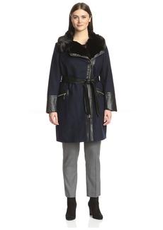 Via Spiga Plus Women's Faux Fur Collar Coat with Faux Leather Trim   US