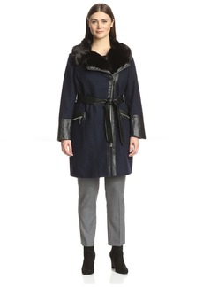 Via Spiga Plus Women's Faux Fur Collar Coat with Faux Leather Trim   US