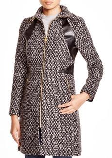 Via Spiga Popcorn-Stitch Coat with Faux Leather Trim