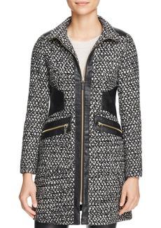 Via Spiga Popcorn Stitch Faux Leather-Trim Coat