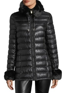 Via Spiga Puffer Jacket w/Faux-Fur Trim