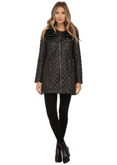Via Spiga Quilt Coat w/ Knit Collar and Front Gold Zip