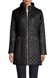 Via Spiga Plus Quilt-Panel Walker Coat