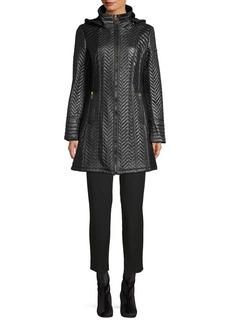 Via Spiga Quilted Herringbone A-Line Coat