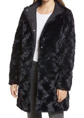 Via Spiga Reversible Faux Fur Hooded Coat