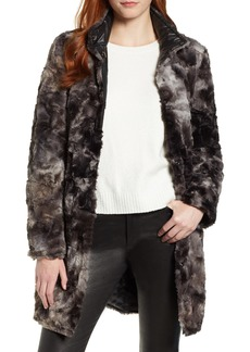 Via Spiga Reversible Faux Marled Fur Coat