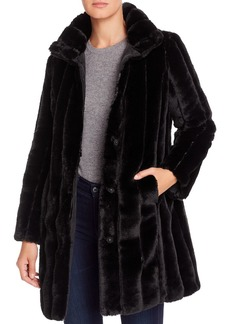 Via Spiga Reversible Vertical-Grooved Faux Fur Coat