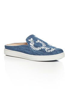 Via Spiga Rina Embroidered Denim Sneaker Mules