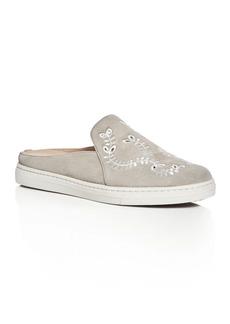 Via Spiga Rina Embroidered Suede Sneaker Mules