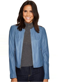 Via Spiga Round Neck Zip Front Leather Jacket