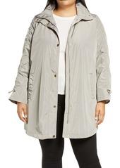 Via Spiga Ruched Sleeve Packable Rain Jacket (Plus Size)