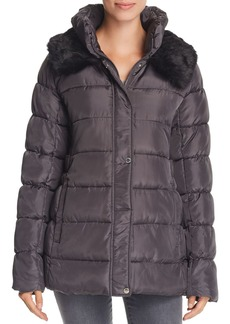 Via Spiga Ruched Stand Collar Puffer Coat