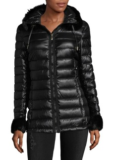 Via Spiga Short Faux Fur Puffer Jacket
