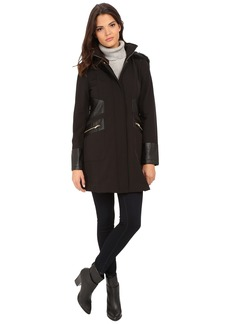 Via Spiga Soft Shell Coat w/ Faux Fur Trimmed Hood