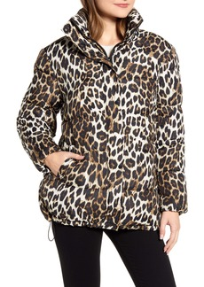 Via Spiga Stand Collar Water Resistant Leopard Print Puffer Coat