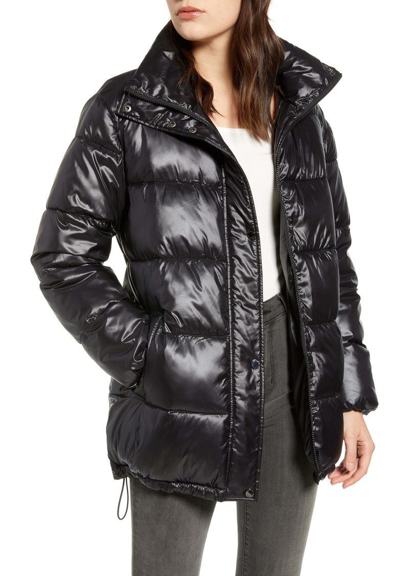 Via Spiga Stand Collar Water Resistant Puffer Coat
