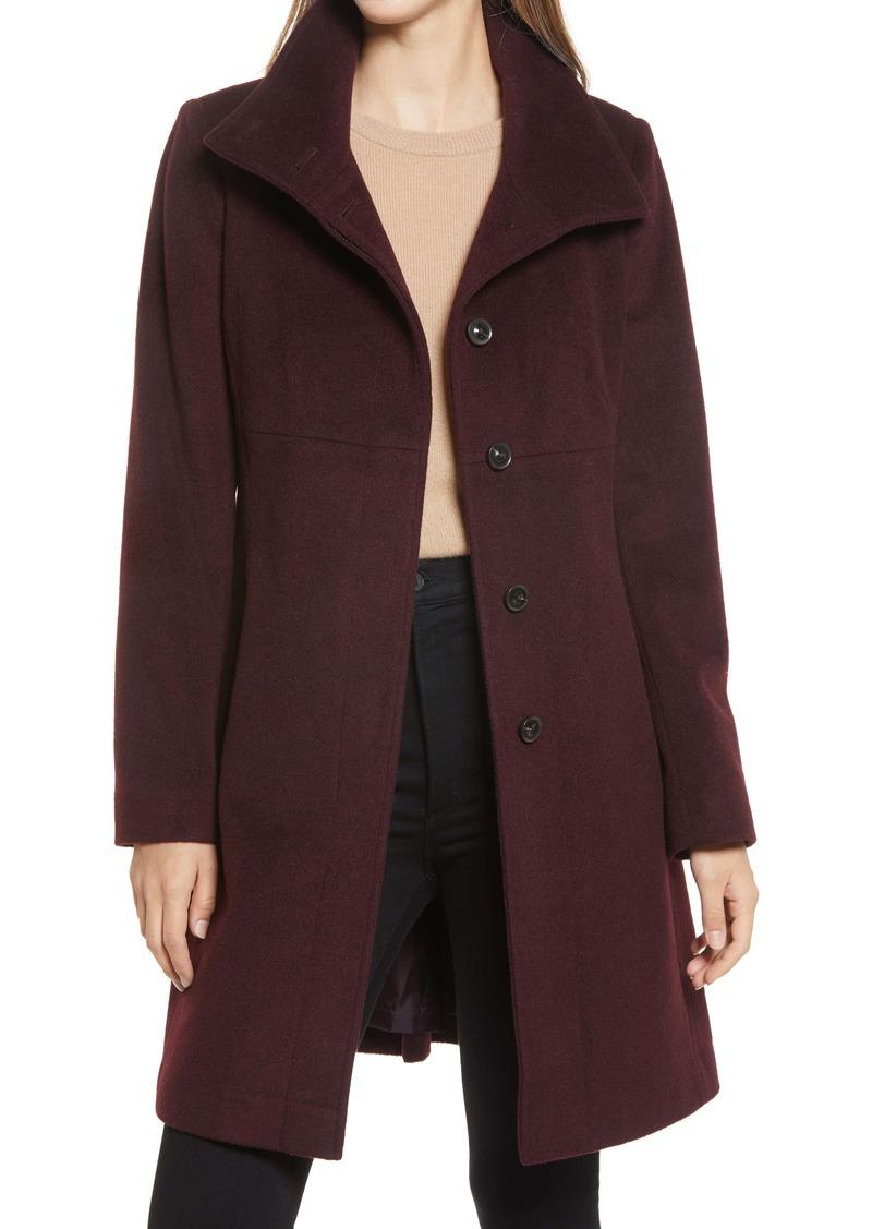 Via Spiga Stand Collar Wool Blend A-Line Coat